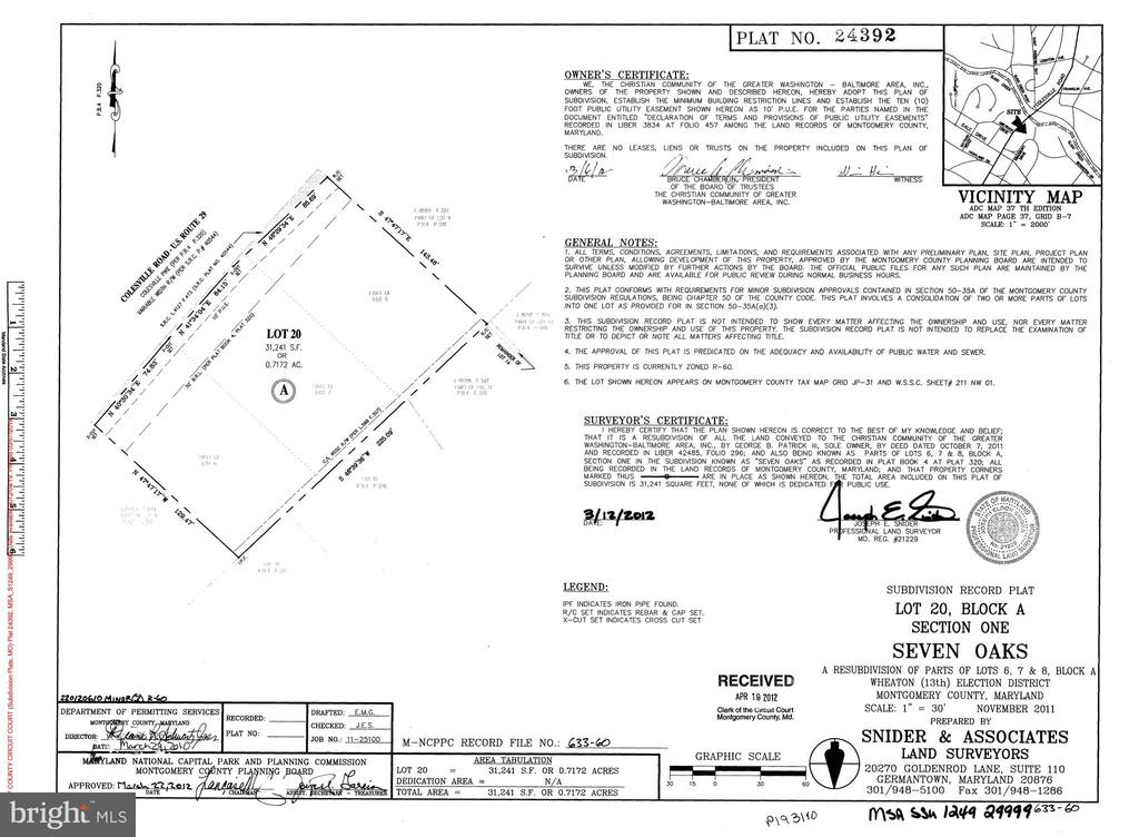 Transitional plat (from 3 to 1 lot) - 9221 COLESVILLE RD, SILVER SPRING