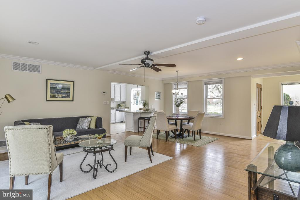 Living room with crown molding & ceiling fan - 5620 INVERCHAPEL RD, SPRINGFIELD