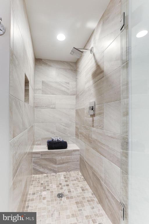 Oversized shower with frameless glass door - 11990 MARKET ST #1103, RESTON