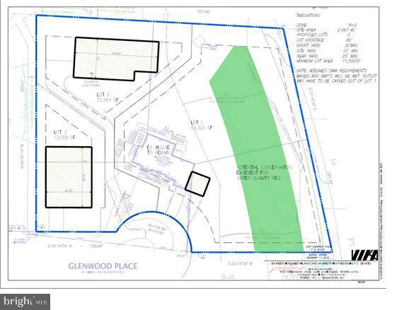Proposed land use -existing house & 2 addl lots - 3200 GLENWOOD PL, FALLS CHURCH