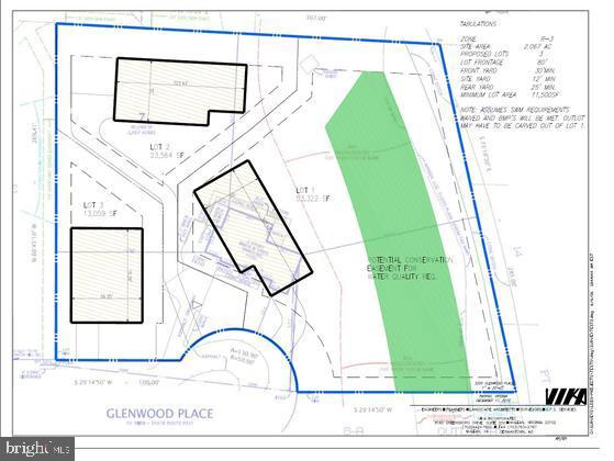 proposed land use - 3 lots - 3200 GLENWOOD PL, FALLS CHURCH