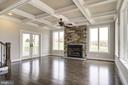 Family Room  ceiling and stone fireplace - 38042 GREENWOOD FARM LN, PURCELLVILLE