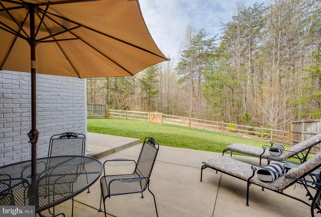 LL private patio, view of woods, fenced in yard - 51 FOUNTAIN DR, STAFFORD