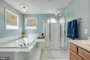 Master bath, 2 sinks, tub, rainfall/jet shower - 51 FOUNTAIN DR, STAFFORD