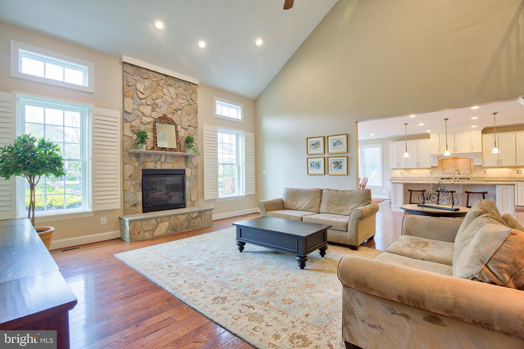 Family room with stone gas fireplace - 41656 REVIVAL DR, ASHBURN