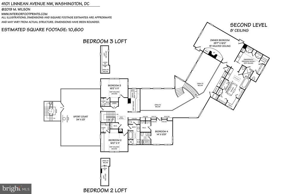 Second level floor plan - 4101 LINNEAN AVE NW, WASHINGTON