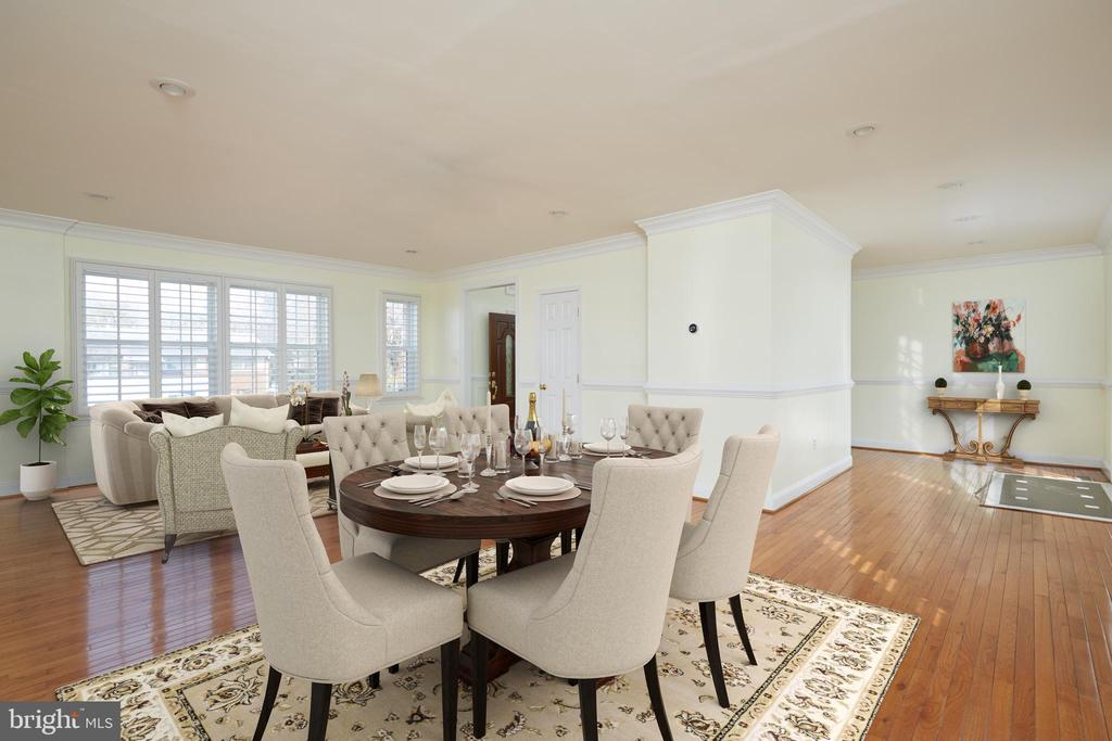 Virtually Staged Living-Dining leads to Rear Deck - 3549 GORDON ST, FALLS CHURCH
