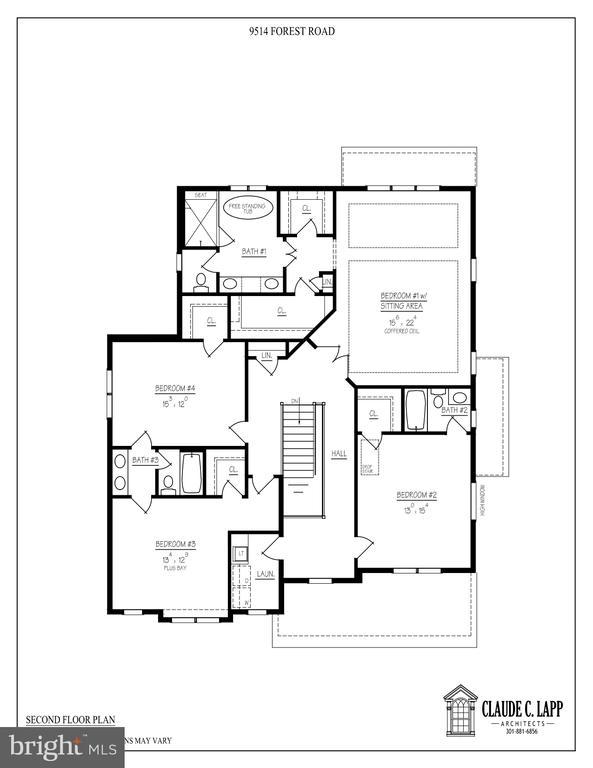 Upper Level Floor Plan - 9514 FOREST RD, BETHESDA