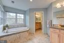 Calming color in well designed master bathroom - 5429 CASTLE BAR LN, ALEXANDRIA