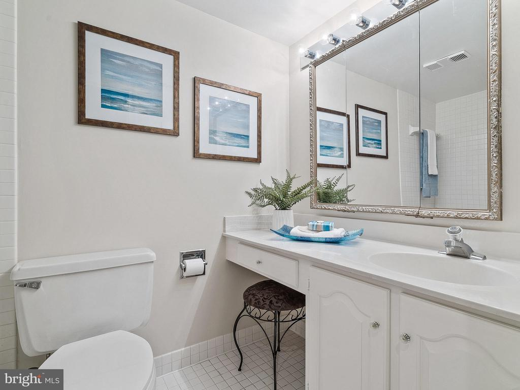 Hall bath with tub and shower - 11420 STRAND DR #R-113, NORTH BETHESDA