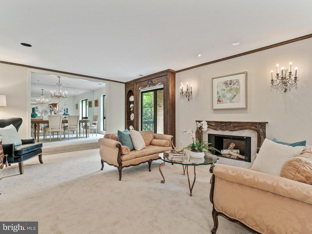 Large Living Room with fireplace and built-ins - 11420 STRAND DR #R-113, NORTH BETHESDA
