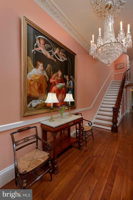 Front hall high ceilings & a stunning chandelier - 209 S SAINT ASAPH ST, ALEXANDRIA