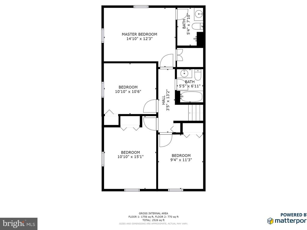 Upper Level Floor Plan - 6303 ZEKAN LN, SPRINGFIELD
