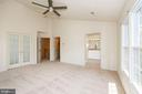 Master Bed  vaulted ceiling new ceiling fan - 2200 JOURNET DR, DUNN LORING