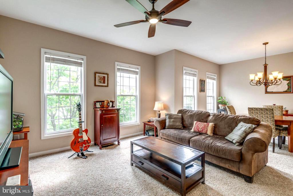 Living Room with Ceiling Fan - 2582 LOGAN WOOD DR, HERNDON