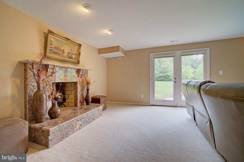 Custom granite trim/mantle wood burning fireplace. - 10753 BLAZE DR, RESTON