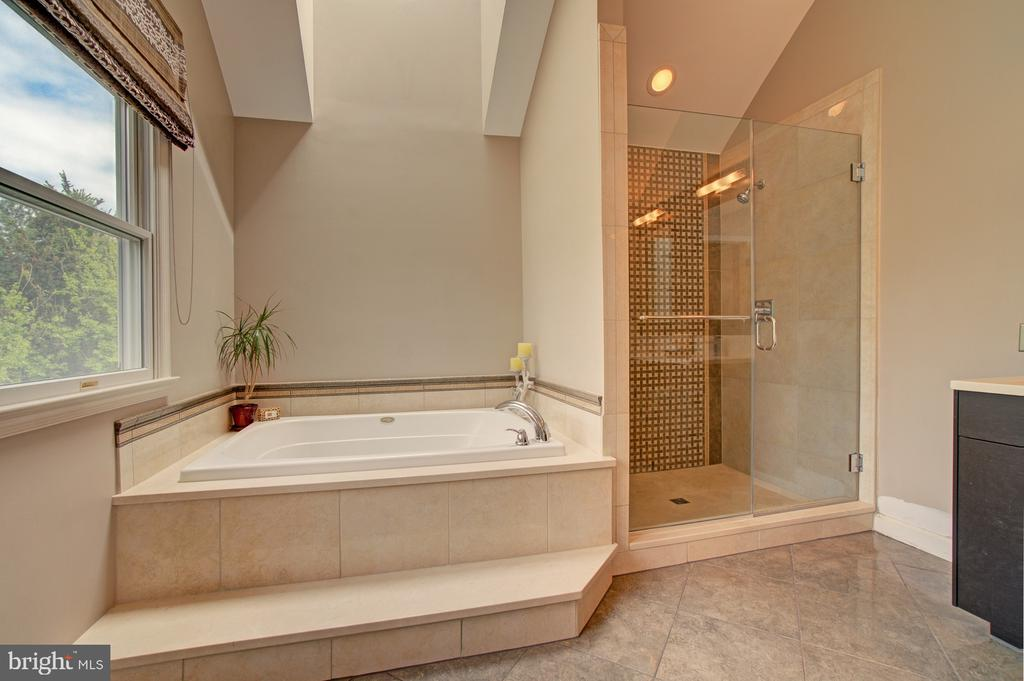 Lovely marble surrounding tub &~marble countertop. - 10753 BLAZE DR, RESTON