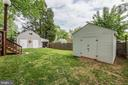 Backyard with 2 large storage sheds - 7425 TILLMAN DR, FALLS CHURCH