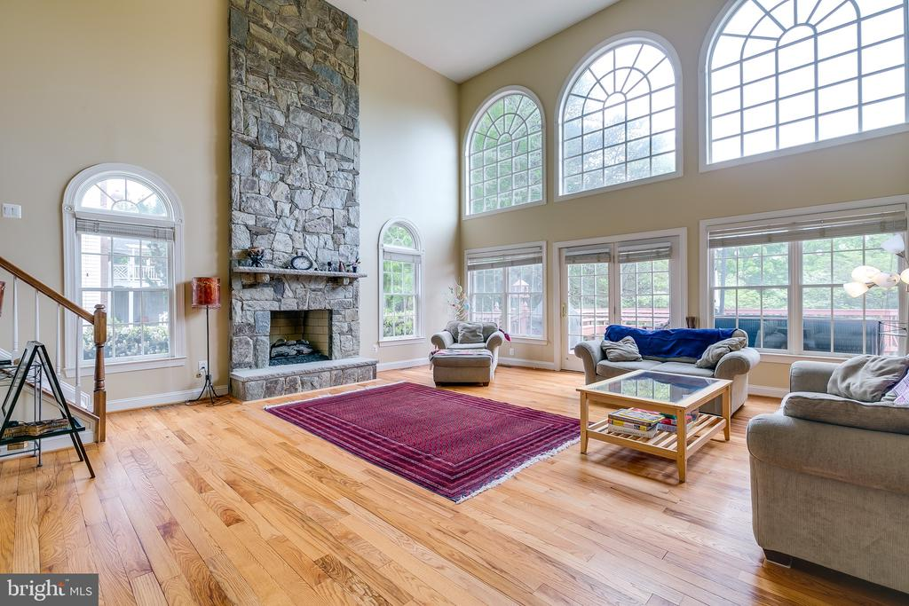 Family Room with stone - 12709 OX MEADOW DR, HERNDON