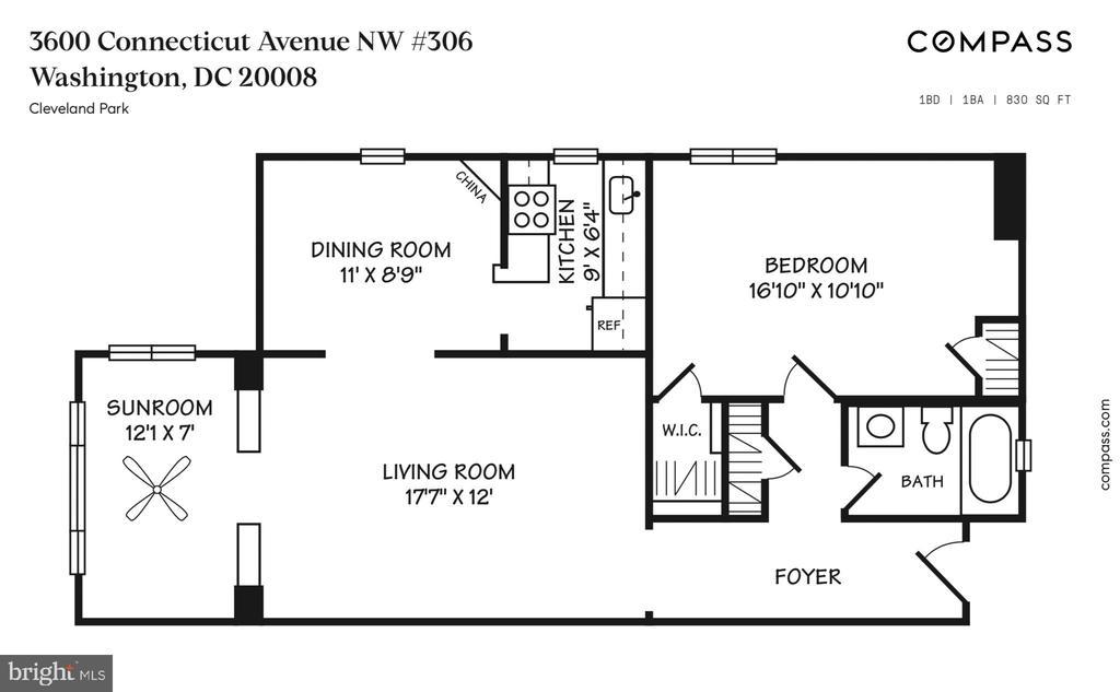 Floor plan - 3600 CONNECTICUT AVE NW #306, WASHINGTON