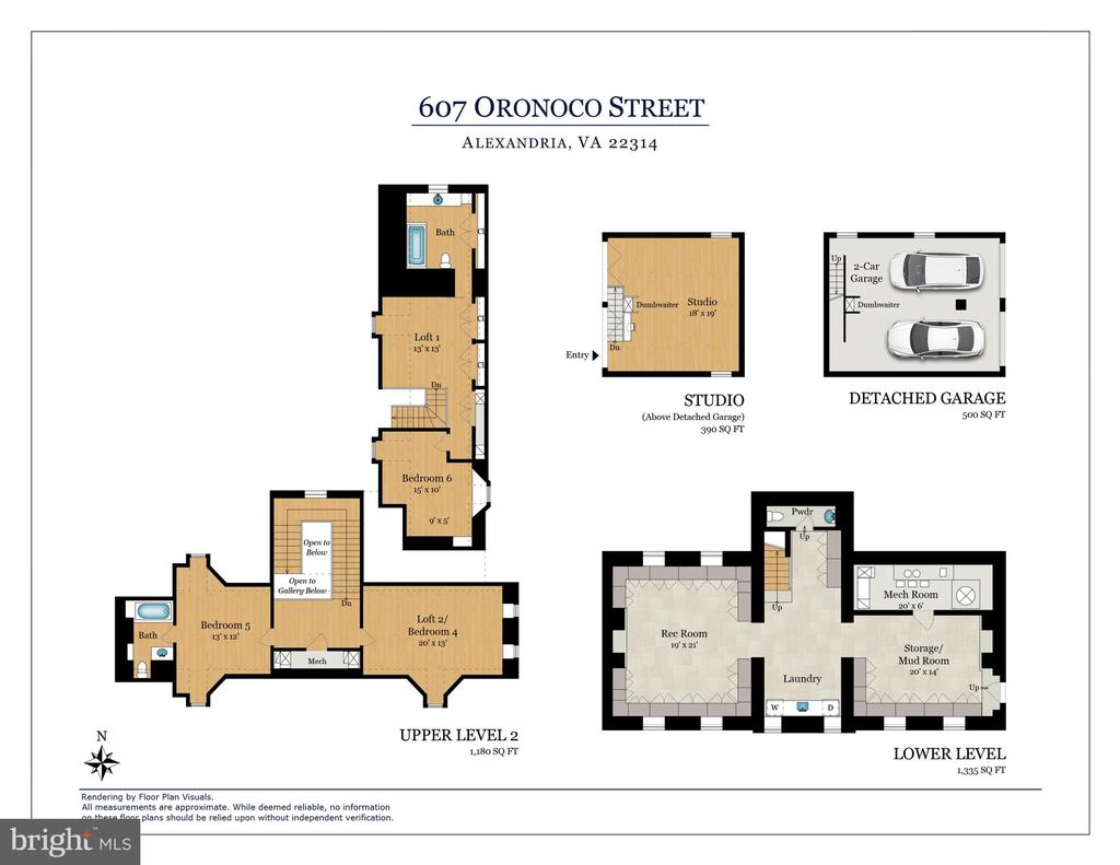 Third + Lower Level Plans + Garage - 601 & 607 ORONOCO ST, ALEXANDRIA