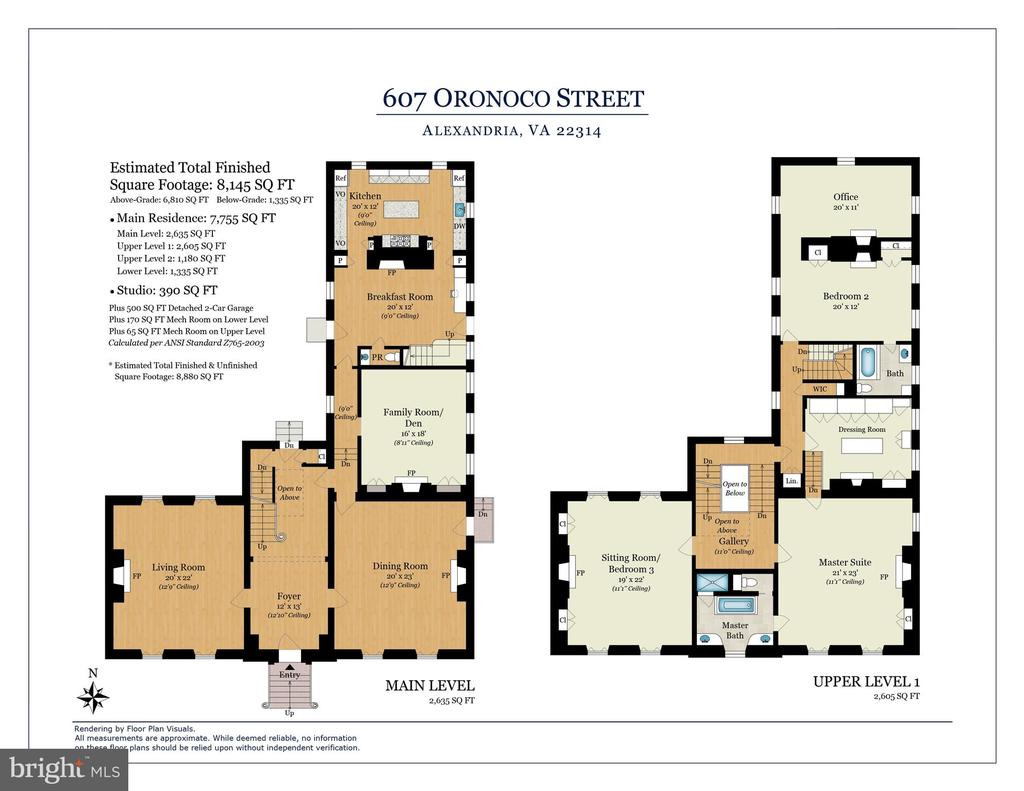 Main + Second Level Floor Plans - 601 & 607 ORONOCO ST, ALEXANDRIA