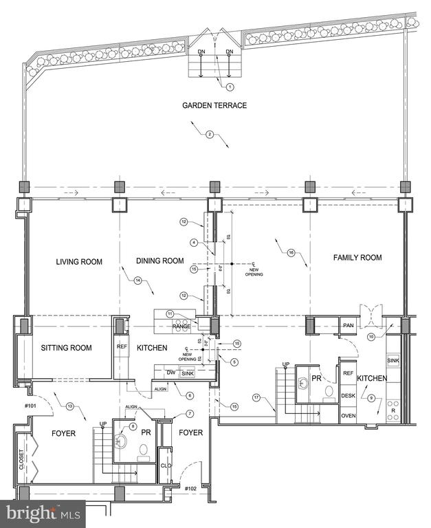 Floor Plan - Lower Level & Terrace - 2700 VIRGINIA AVE NW #101/102, WASHINGTON