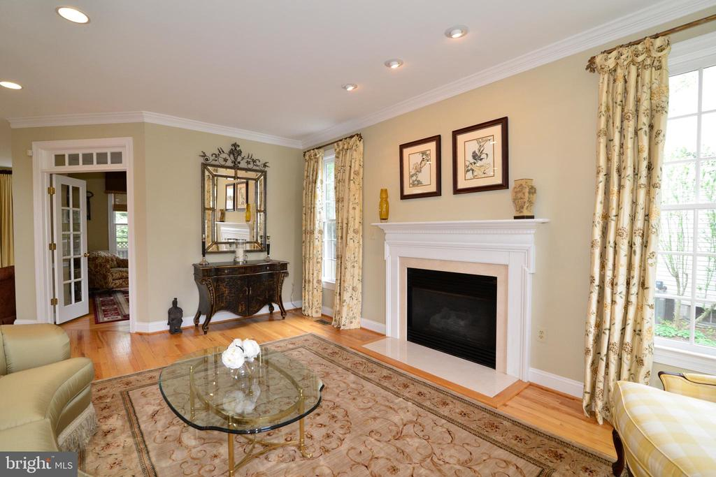 Stately fireplace flanked by oversized windows. - 2403 SAGARMAL CT, DUNN LORING