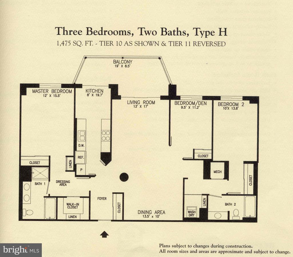 Model H floorplan - 19385 CYPRESS RIDGE TER #1110, LEESBURG
