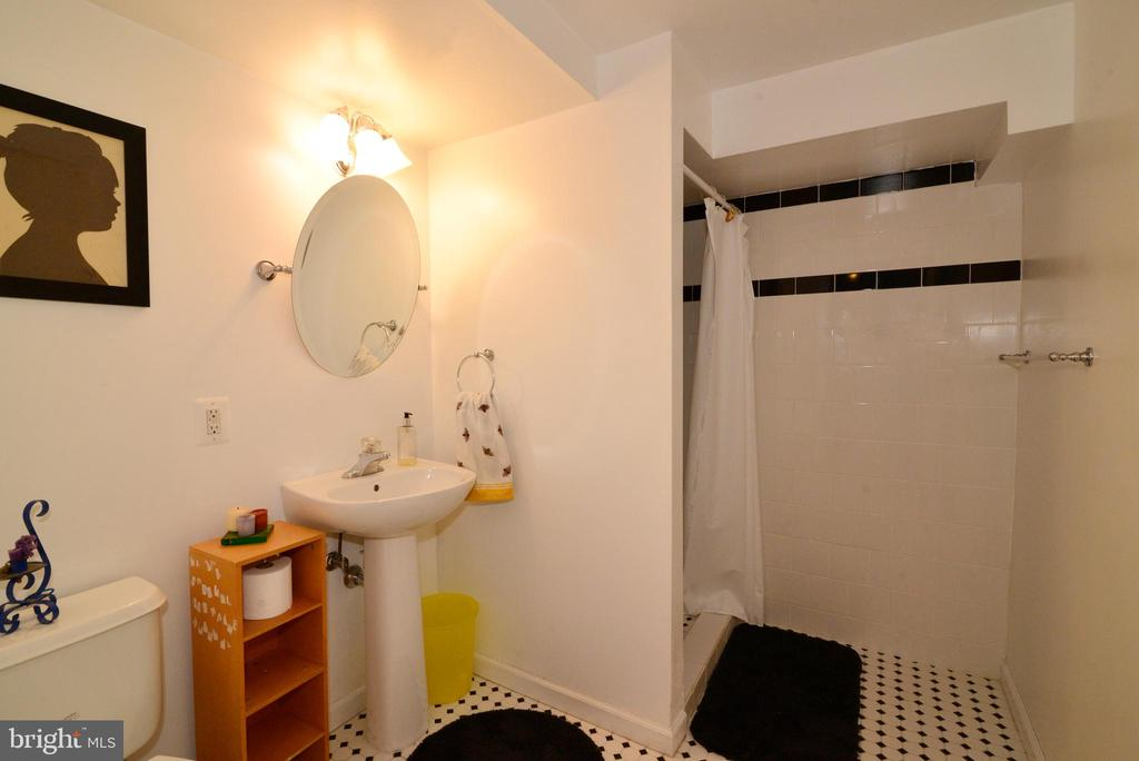 LOWER-LEVEL TILED  BATHROOM WITH SHOWER - 604 W MARKET ST, LEESBURG