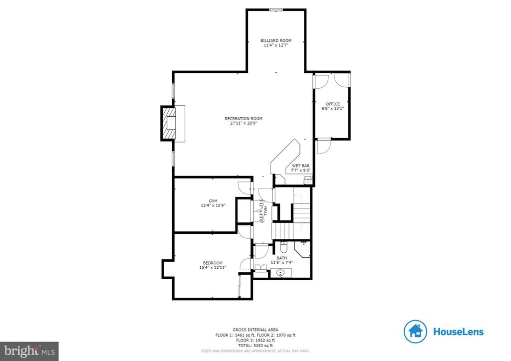 Lower Level Floorplan - Finished Area Only - 1904 MALLINSON WAY, ALEXANDRIA