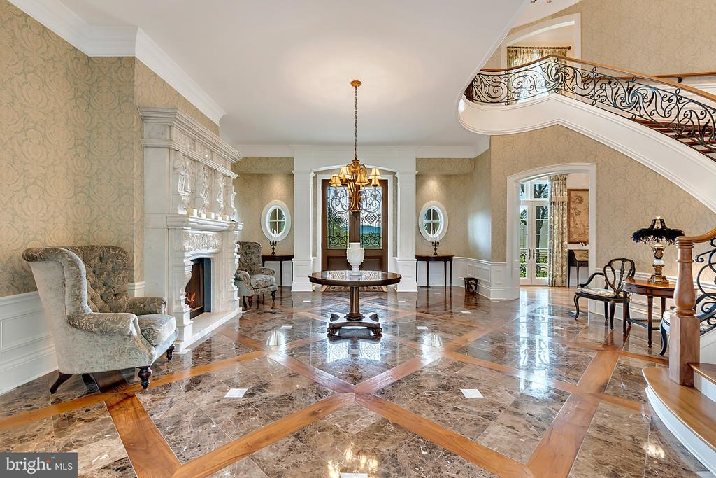 Reception Hall with walnut and marble floor - 12410 COVE LN, HUME