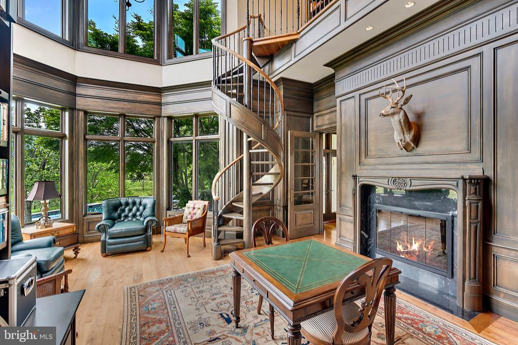 Fireplace in library - 12410 COVE LN, HUME