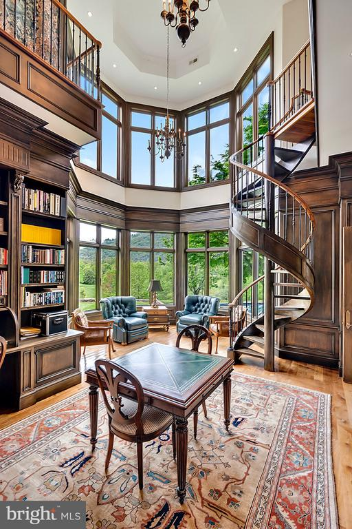 Two story windows in the library - 12410 COVE LN, HUME