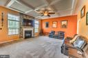 Coffered ceiling, gas fireplace w/stone surround - 31 LIBERTY KNOLLS DR, STAFFORD