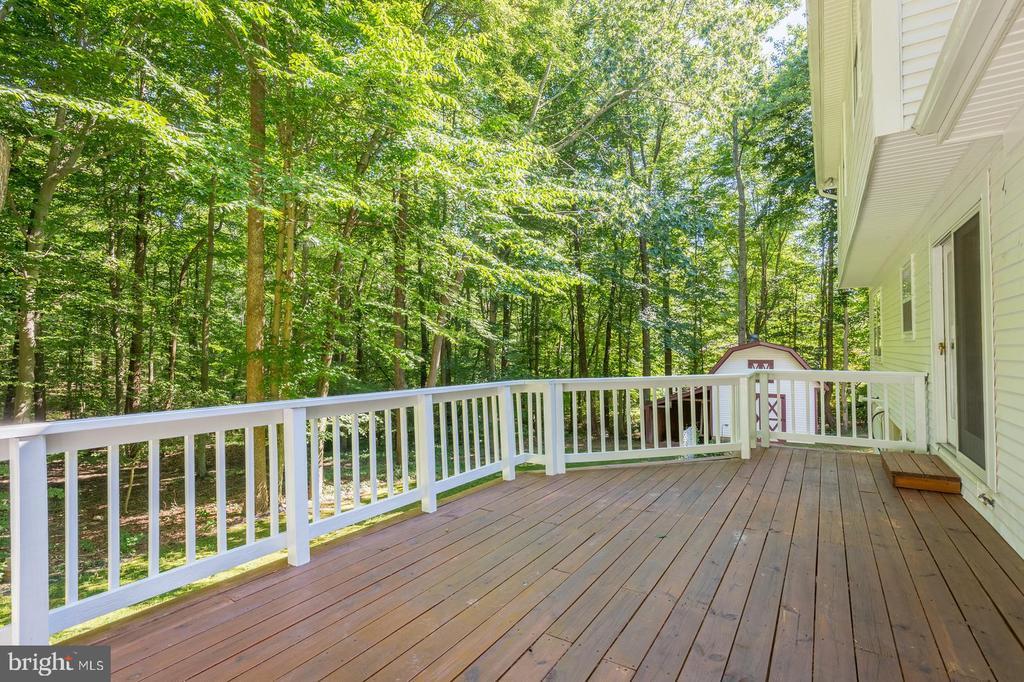 Huge deck backing to woods. - 14439 ALPS DR, WOODBRIDGE