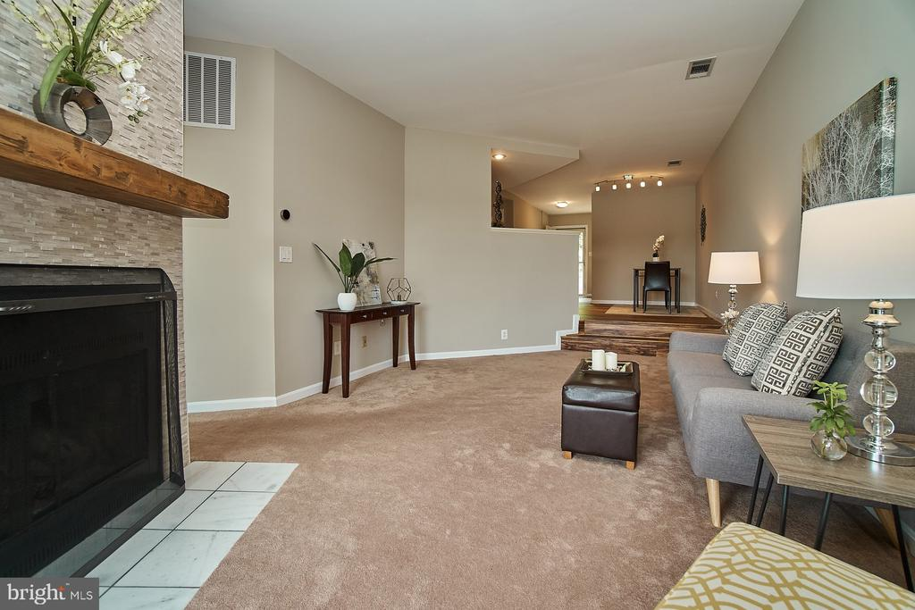 Living Room Featuring Updated Fireplace - 11180 HARBOR CT, RESTON