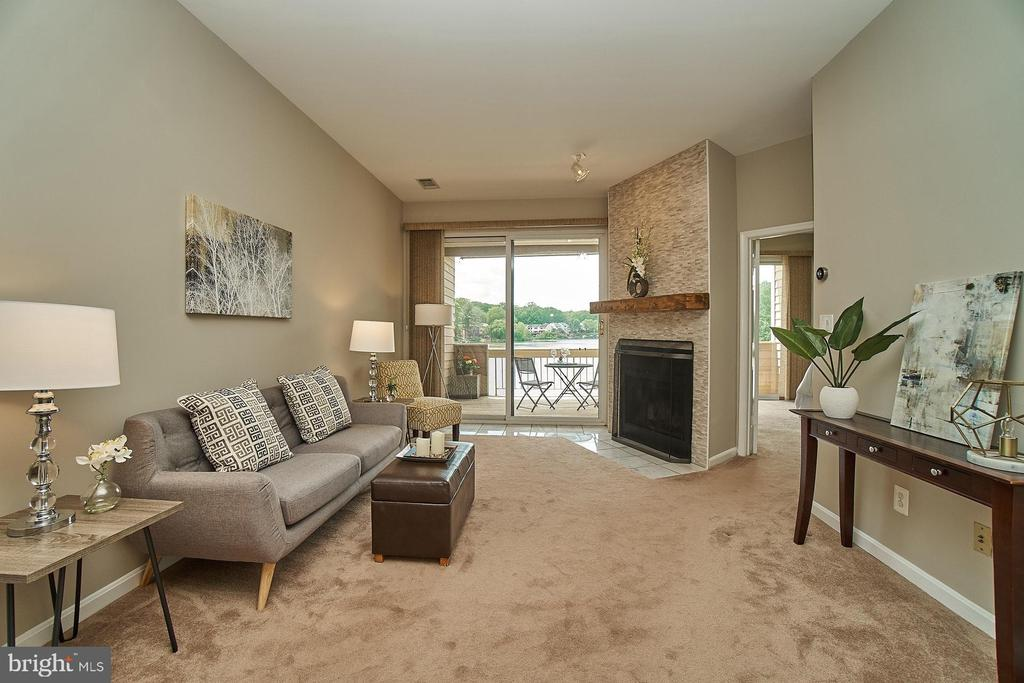 Living Room with View to Lake - 11180 HARBOR CT, RESTON