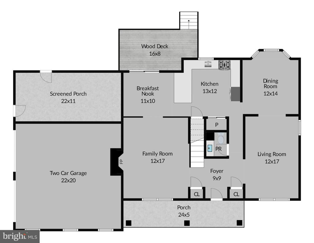 Main Level Floor Plan - 5537 BELLE POND DR, CENTREVILLE