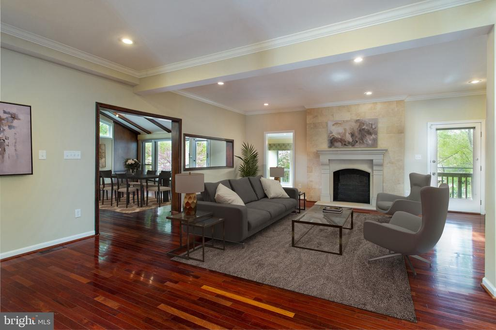 Living Room with Fireplace - 3502 PINETREE TER, FALLS CHURCH