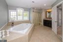 Master bath with custom seamless shower doors - 17512 FLINT FARM DR, ROUND HILL