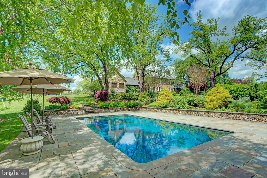 Secluded pool with stone deck - 22941 FOXCROFT RD, MIDDLEBURG
