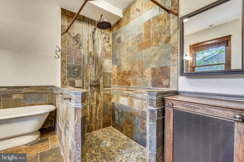 Master bath with walk in shower and separate tub - 9220 COLUMBIA BLVD, SILVER SPRING