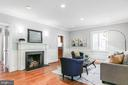 Living room with fireplace - 6418 BROAD ST, BETHESDA