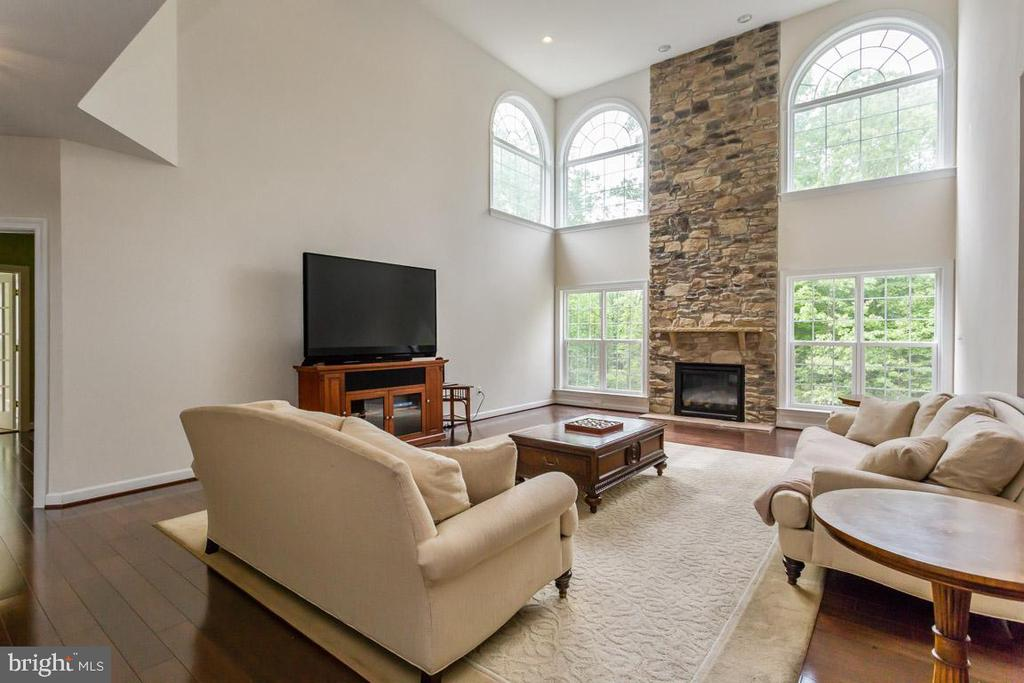 Family room stone fireplace - 1076 DECATUR RD, STAFFORD