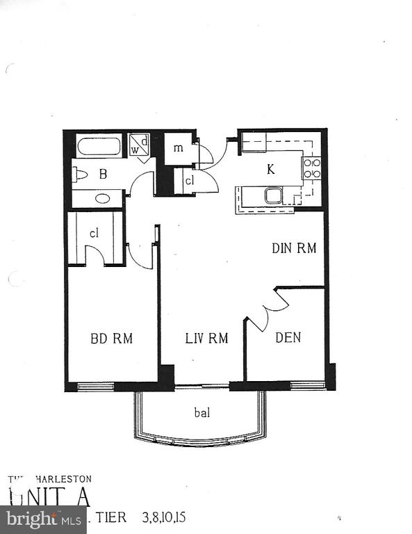Floor plan/ One Bedroom + Den w/ Full Bath - 2400 CLARENDON BLVD #203, ARLINGTON