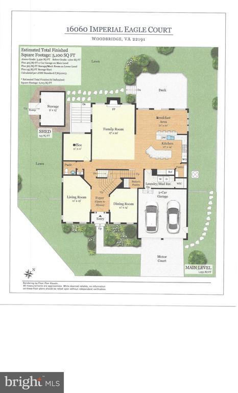 Main Level Floor Plan - 16060 IMPERIAL EAGLE CT, WOODBRIDGE
