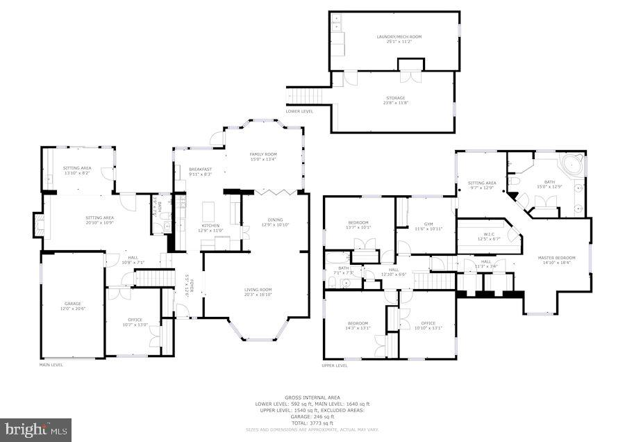 Floor plans with room sizes for convenience - 5508 DEVON RD, BETHESDA