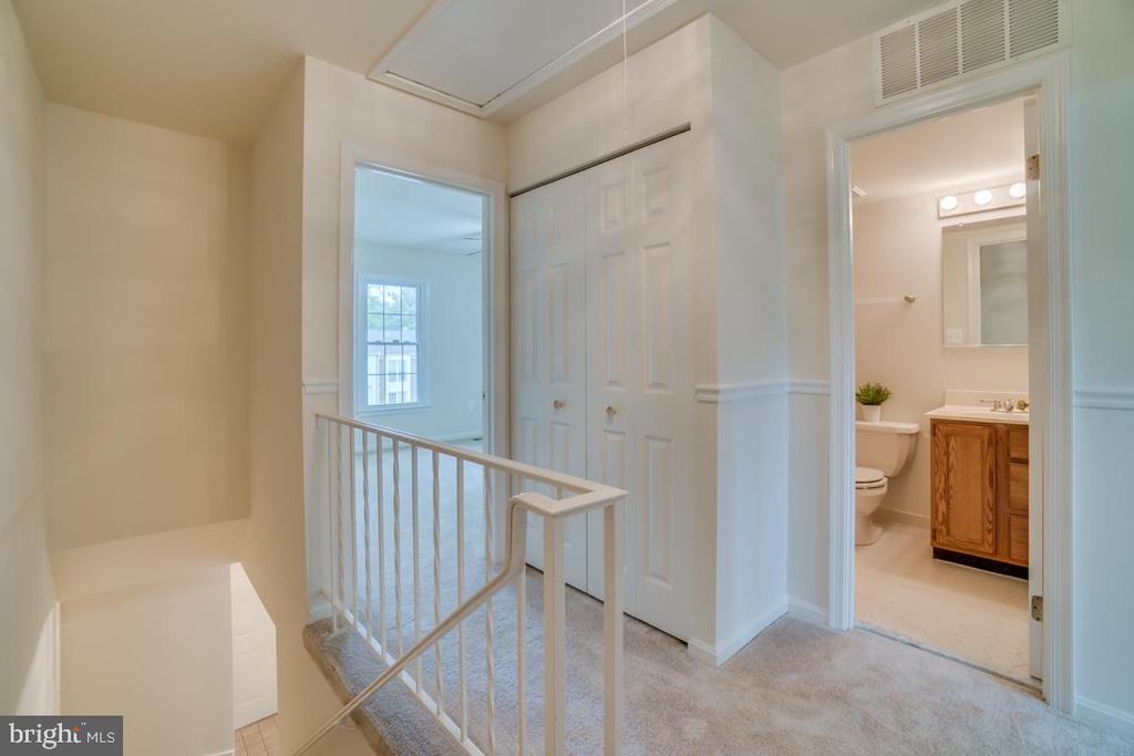 Upstairs Hall Landing with Pull Down Attic Door - 12090 WINONA DR, WOODBRIDGE