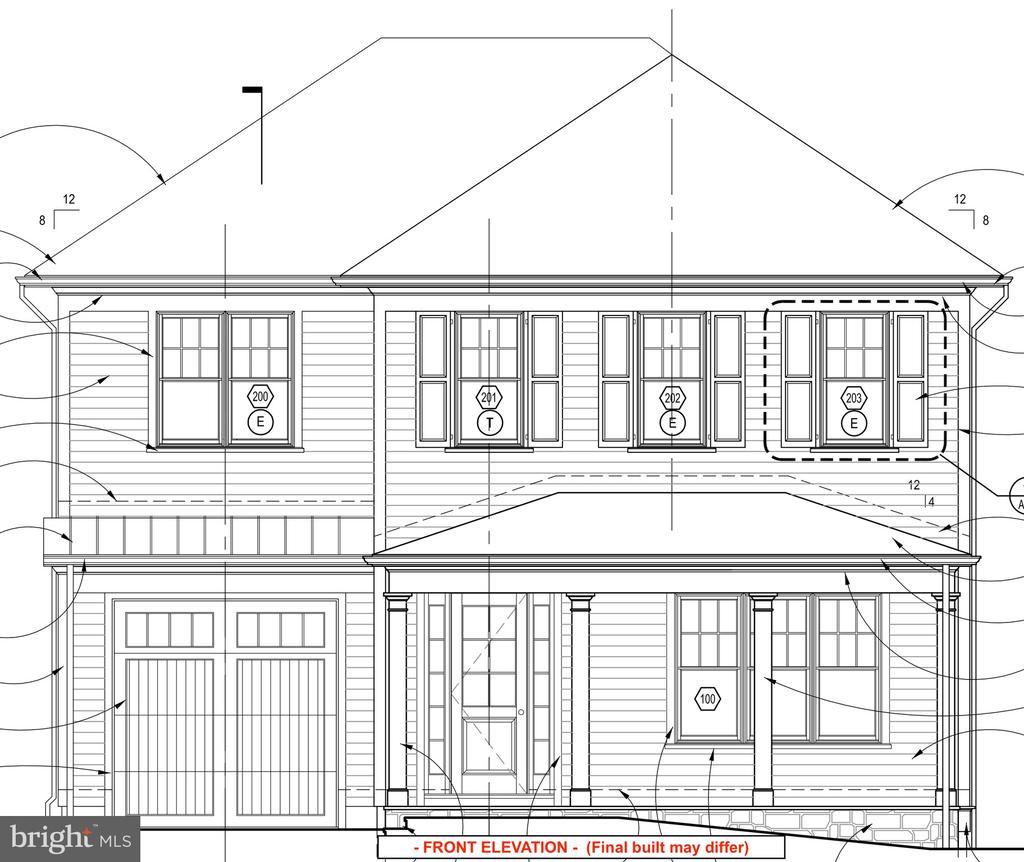 FRONT ELEVATION -  (Final built may differ) - 9815 MONTAUK AVE, BETHESDA
